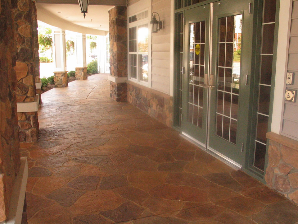 commercial stamped concrete front entry los angeles