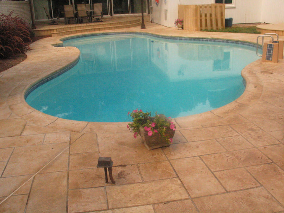 commercial concrete pool deck stamping