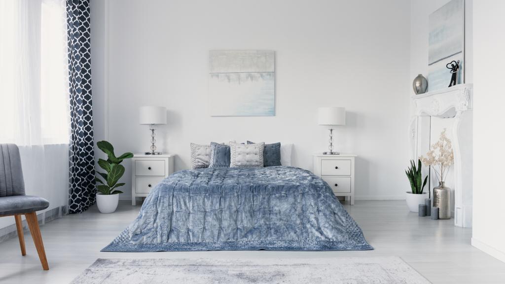 fancy bedroom with concrete floor