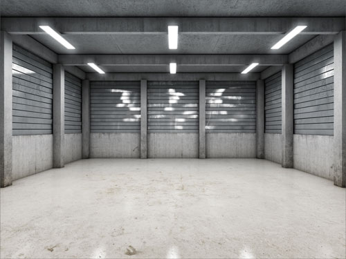 open space empty garage with good lighting